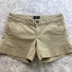 American Eagle Khaki Stretch Midi Shorts